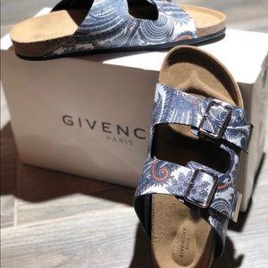 Givenchy Paisley Buckle Sandals, Blue/Grey: Sz 41